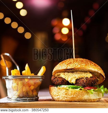 Vegetarian, Veggie Burger With French Fries With Bokeh Background
