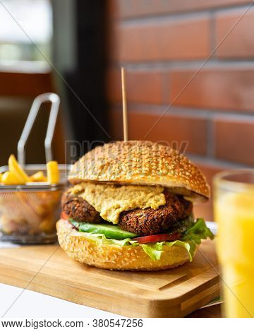 Vegetarian, Veggie Burger With French Fries Close Up