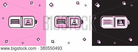 Set Wallet Icon Isolated On Pink And White, Black Background. Purse Icon. Cash Savings Symbol. Vecto