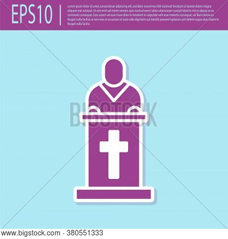Retro Purple Church Pastor Preaching Icon Isolated On Turquoise Background. Vector Illustration