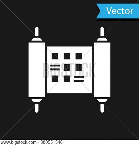 White Decree, Paper, Parchment, Scroll Icon Icon Isolated On Black Background. Chinese Scroll. Vecto