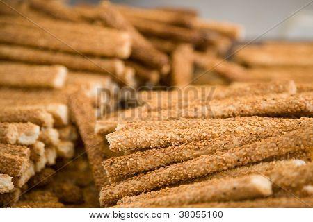 Pile Of Sesame Sticks