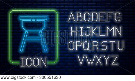 Glowing Neon Barbecue Grill Icon Isolated On Brick Wall Background. Bbq Grill Party. Neon Light Alph