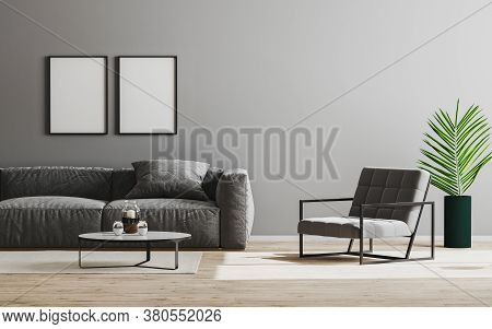 Empty Picture Frame Mockup In Modern Living Room Interior Background In Gray Color With Sofa And Arm