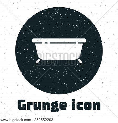 Grunge Bathtub Icon Isolated On White Background. Monochrome Vintage Drawing. Vector Illustration