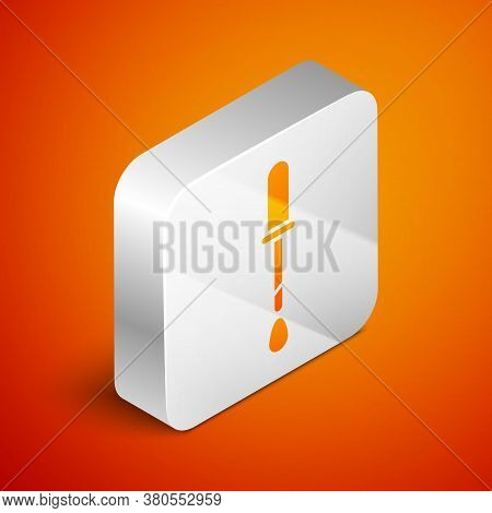 Isometric Pipette Icon Isolated On Orange Background. Element Of Medical, Chemistry Lab Equipment. P
