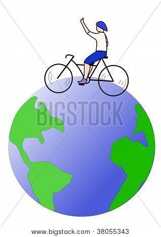 Cyclist travel around the world