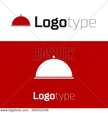 Red Covered With A Tray Of Food Icon Isolated On White Background. Tray And Lid. Restaurant Cloche W