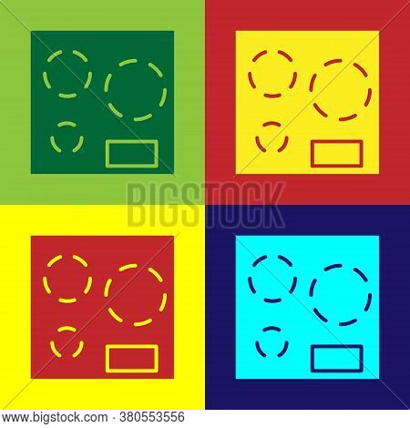 Pop Art Electric Stove Icon Isolated On Color Background. Cooktop Sign. Hob With Four Circle Burners