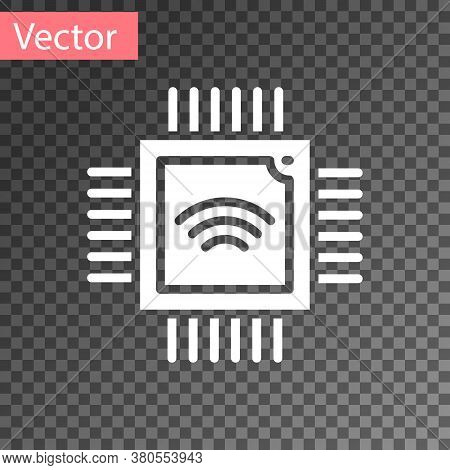 White Computer Processor With Microcircuits Cpu Icon Isolated On Transparent Background. Chip Or Cpu