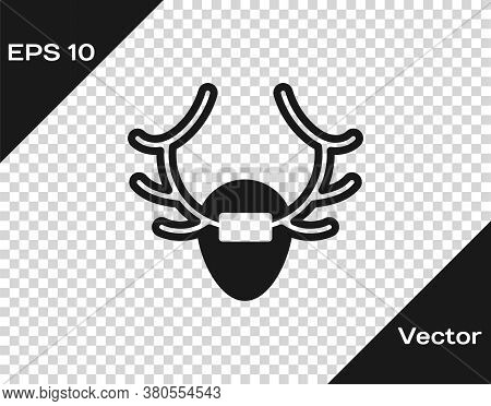 Black Deer Antlers On Shield Icon Isolated On Transparent Background. Hunting Trophy On Wall. Vector