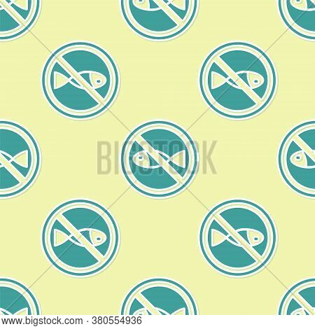 Green No Fishing Icon Isolated Seamless Pattern On Yellow Background. Prohibition Sign. Vector