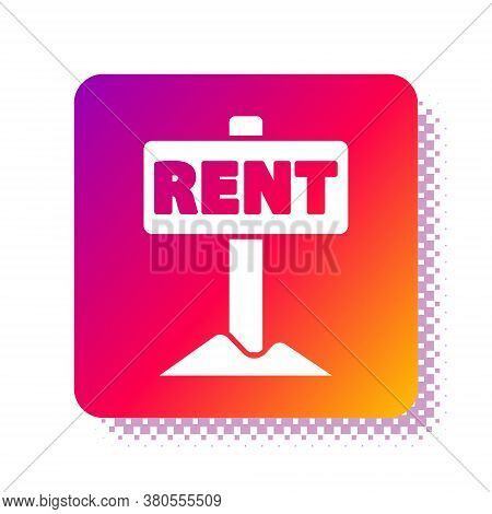 White Hanging Sign With Text Rent Icon Isolated On White Background. Signboard With Text For Rent. S