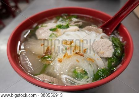 famous snacks of vietnamese noodles with pork on the table