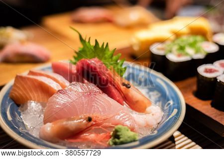 delicious sashimi seafood on plate at restaurant