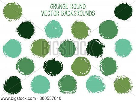 Vector Grunge Circles Isolated. Hipster Stamp Texture Circle Scratched Label Backgrounds. Circular I