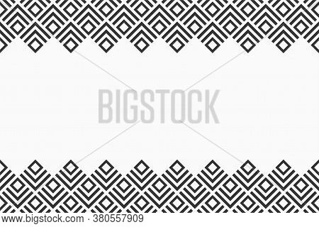 Seamless Horizontal Border Pattern With Rhombuses, Isolated On White Background. Endless Stylish Tex
