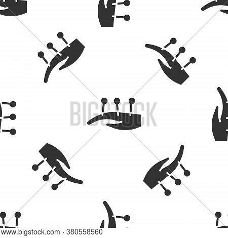Grey Acupuncture Therapy On The Hand Icon Isolated Seamless Pattern On White Background. Chinese Med