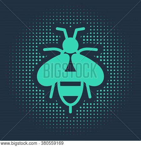 Green Bee Icon Isolated On Blue Background. Sweet Natural Food. Honeybee Or Apis With Wings Symbol.
