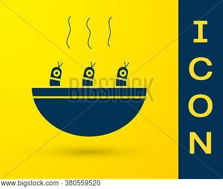 Blue Soup With Shrimps Icon Isolated On Yellow Background. Tom Yum Kung Soup. Vector.