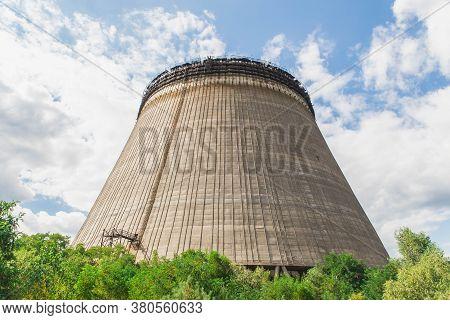 Pripyat, Ukraine, August 2020: Unfinished Cooling Tower In Pripyat