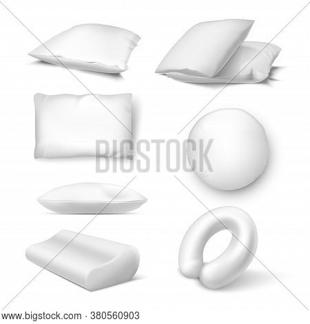 Pillows In White Color Assortment Realistic Mockups Set. Cushions, Bedclothing.