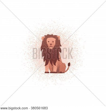 Lion Textured Illustration. Vector Illustration Of A Lion Sitting On The Ground. Can Be Used As An I