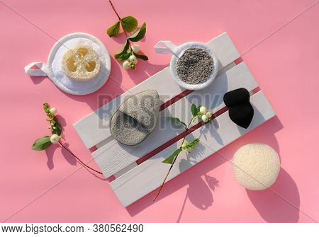 Various Types Of Face Sponges For Make Up Removing And Cleaning Face. Konjak And Loofah Or Luffa Spo