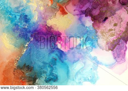 Abstract watercolor, acrylic flow blot painting. Art Color canvas marble texture horizontal background. Alcohol ink.