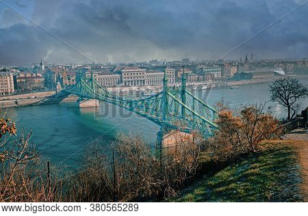 Liberty Bridge Or Freedom Bridge Across The Danube River.