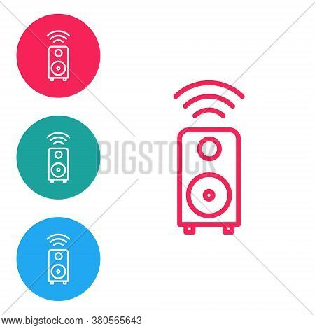Red Line Smart Stereo Speaker System Icon Isolated On White Background. Sound System Speakers. Inter