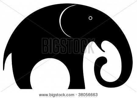 A black elephant logo, designed with curved and  circular forms, for many uses poster