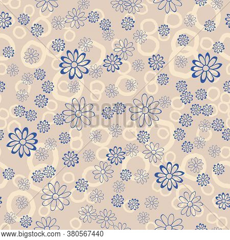 Patel Background With Blue Floral Chamomile Seamless Pattern