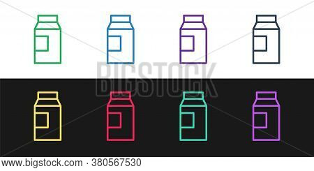 Set Line Paper Package For Milk Icon Isolated On Black And White Background. Milk Packet Sign. Vecto