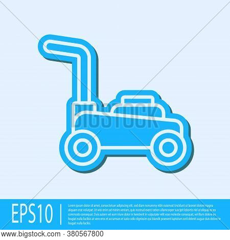 Blue Line Lawn Mower Icon Isolated On Grey Background. Lawn Mower Cutting Grass. Vector