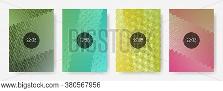 Zig Zag Lines Halftone Banner Templates Set, Gradient Stripes Texture Vector Backgrounds For   Annua