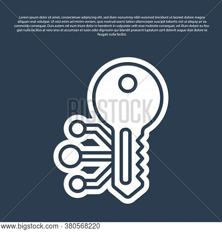 Blue Line Cryptocurrency Key Icon Isolated On Blue Background. Concept Of Cyber Security Or Private