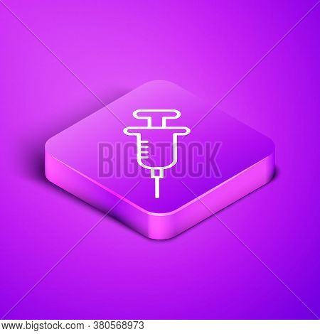 Isometric Line Syringe Icon Isolated On Purple Background. Syringe For Vaccine, Vaccination, Injecti