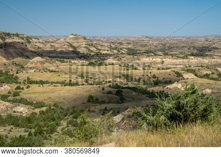 Overlooking The Badlands At Theodore Roosevelt National Park In North Dakota