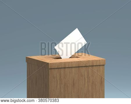 3d Rendered Illustration Of A Generic Wooden Voting Box, And A Blank Paper Representing The Ballot