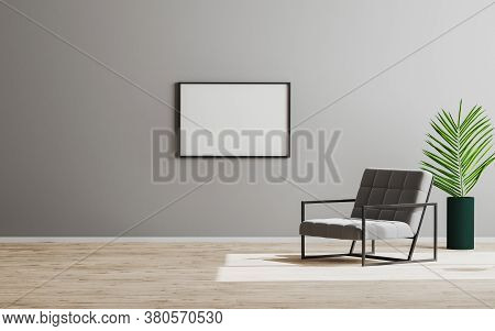 Horizontal Blank Empty Vertical Frame Mock Up In Empty Room With Gray Armchair And Green Plant, Empt