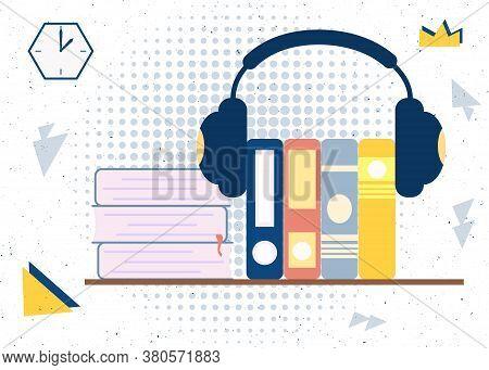 Audiobooks Stack Of Books In Headphones Vector Illustration Concept. Design Template Element For Pod