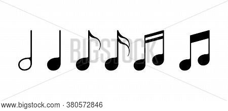 Music Note Set. Sound Key In Black Color. Sheet Music Chords. Notation Signature Set. Treble Classic