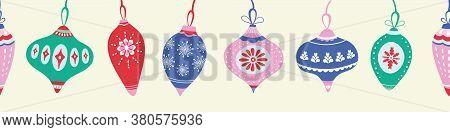 Christmas Pattern Design. Vector Bauble Festive Decoration Seamless Repeat Border.
