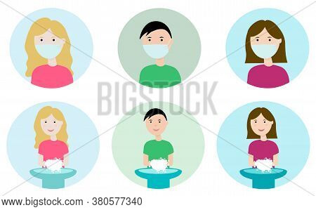 People In Medical Face Masks. A Man And A Woman Wash Their Hands. Concept Of Health And Sanitation,