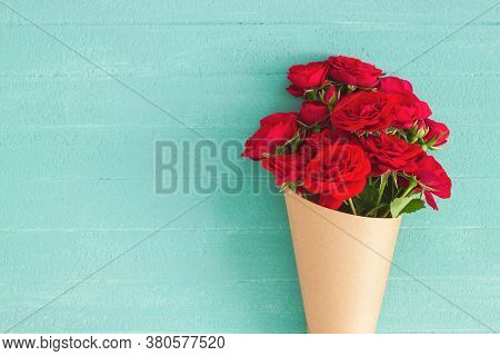 Red Rose Bouquet Wrapped Vintage Craft Paper.