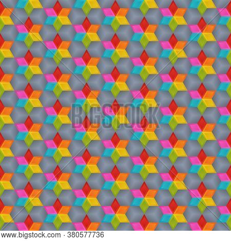 Geometrical Universal Abstract Seamless Pattern Of Bright Blue, Green, Orange, Red, Pink, Yellow Rho