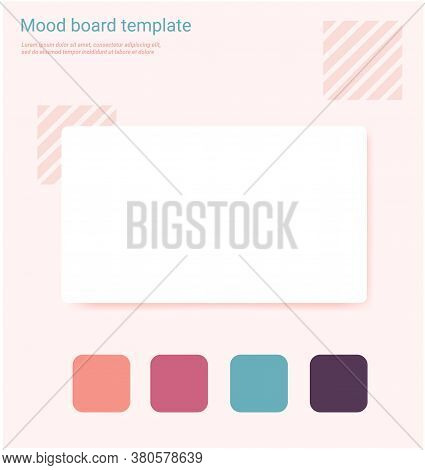 Pink Shades Color Mood Board Template. Decorative Vector Collage Composition For Education Or Artist