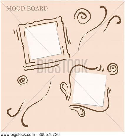 Elaborate Calligraphic And Floral Motives Light Pink Color Mood Board Template. Decorative Square Sp