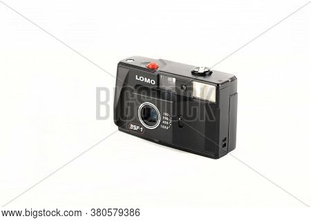 The Very Rare Old Soviet Automatic Film Camera Lomo 35f-1, Released 1990 On White Background.